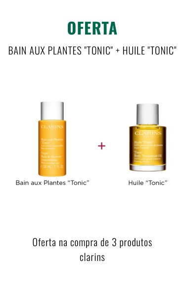 O0100+O0102 - Oferta na compra de 3 produtos da marca Clarins