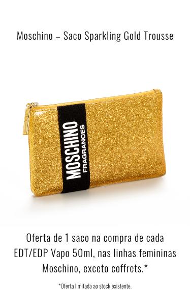 O0237 Oferta Moschino Saco Sparkling gold trousse